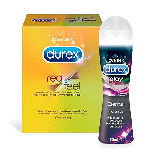 Preservativos Durex Real Feel 24 Condones + Lubricantes Sexuales Durex Play...