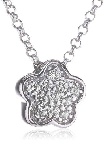 Esprit Damen Halskette 925 Sterling Silber rhodiniert Kristall Zirkonia little blossom 42 cm weiß ESNL92155A420