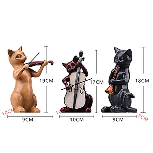 3pc / set hars muziek katten beeldje muzikant kat standbeeld viool sculptuur schattige dieren miniatuur violist vintage home decor, katten beeldje set, als foto