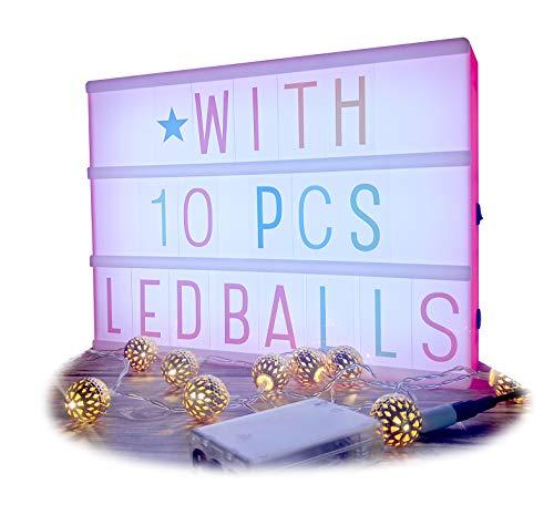 Cinematic Light Box und Golden Morocco LED-Lichterkette 10balls | Beleuchtete Leuchtbox-Zeichen und LED-Lichterkette | Batterie- oder USB-Betrieb | Perfektes dekoratives Geschenk | A4-Größe Pink