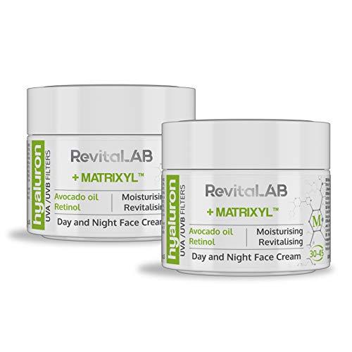 RevitaLAB - Crema antiarrugas de día y de noche con ácido hialurónico...