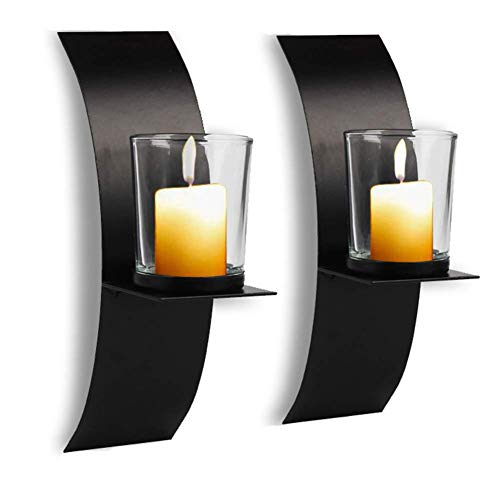 POHOVE 2 Pcs Modern Art Candle Holder For Wall Iron Art Candle Holder With Glass Cup Wall Sconces Set Of Two Candle Holder Metal Black for Home Wedding Living Room Decoration