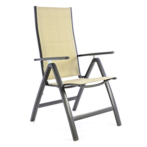 Nexos Deluxe Klappstuhl gepolstert – Textilene Creme/Rahmen dunkelgrau - Gartenstuhl Liegestuhl – klappbarer Stuhl aus Aluminium & Kunststoff