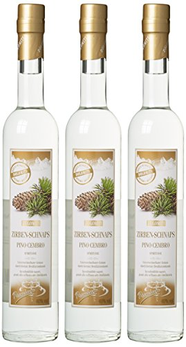 Dolomiti Zirben-Schnaps Premium Spirituose 40% vol. | Original Zirbenschnaps | 3 x 0.5 Liter, 3072