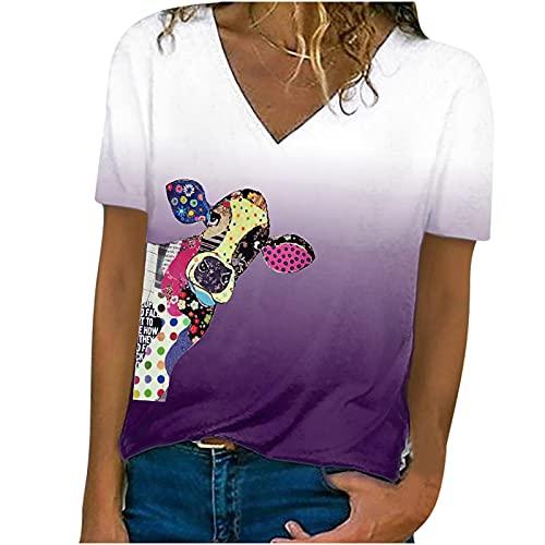 AMhomely Camiseta de verano para mujer, con cuello en V, manga corta, suelta, estampado floral, talla grande