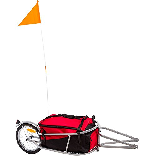 Rage Powersports Apex BCT-8002 Single Wheel Pull-Behind Bicycle Cargo Trailer with Cargo Bag