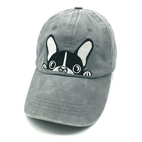 Waldeal Embroidered Boston Terrier Bulldog Vintage Distressed Dad Hat Dog Mom Cap Grey