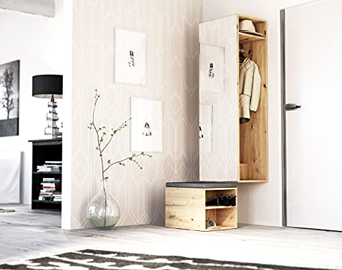 Perchero HEKTOR en pasillo con estantes para zapatos y ganchos Color ROBLE ARTESANO / BLANCO