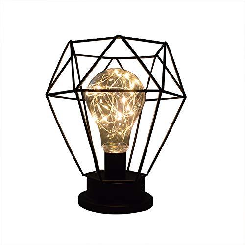 Lámpara de noche industrial vintage de hierro, jaula diamante, lámpara de mesa LED, lámpara de mesa USB/batería blanca cálida, iluminación navideña (bombilla incluida) (negro)