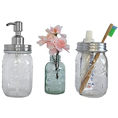 Farmhouse Bathroom Decor - Mason Jar Soap Dispenser and Toothbrush Set - Mason Jar Bathroom Accessories - Rustic Bathroom Decor