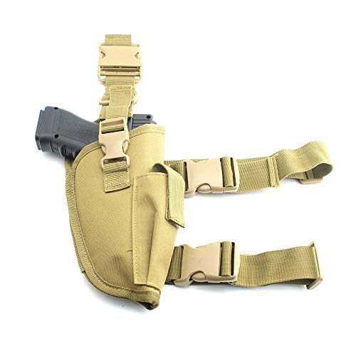 La Gracery Pistol Drop Leg Holster Adjustable Tactical Thigh Gun Holster with Magazine Pouch for Right Hand Khaki