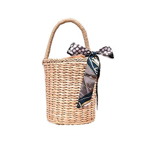 KTENME - Bolso de Mano para Mujer, Estilo Vintage, con Forma de Cilindro y Paja, Ideal para Vacaciones en la Playa