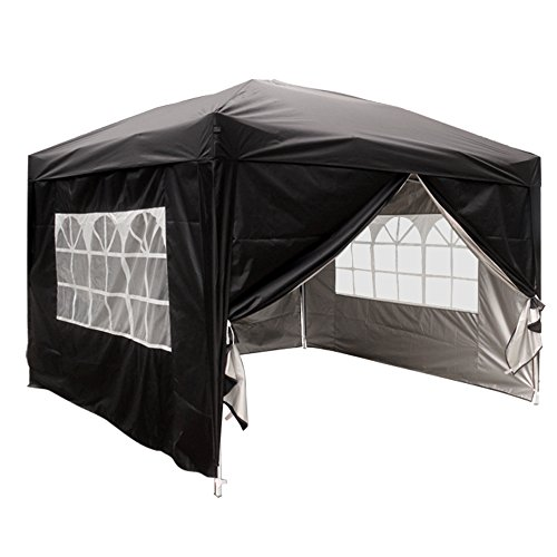 Greenbay Black Heavy Duty Pop-up Gazebo Marquee Canopy with 4 Side Panels and Carrybag - 3m x 3m
