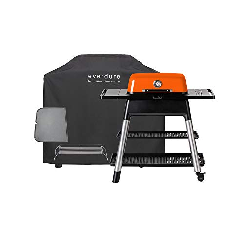 Everdure Force by Heston Blumenthal 2-Burner Liquid Portable Propane Gas Grill, Cover and Accessory Bundle: Die-Cast Aluminum Body, Orange Grills Propane