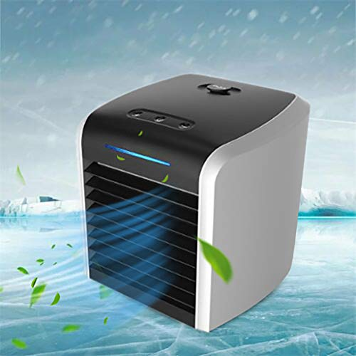 Portable Air Conditioner Fan, Personal Space Air Cooler Quiet Desk Fan Mini with 7 Colors Night Light, Air Circulator Humidifier Misting Ultra-Quiet Fan for Home Office Bedroom (Black)