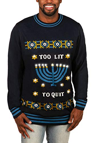 Tipsy Elves' Men's Hanukkah Too Lit to Quit Light Pullover - Funny Blue Ugly Holiday Sweater Size Large
