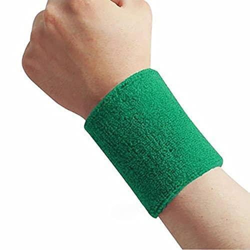 Banda para el sudor de algodón unisex para deportes, tenis, yoga, brazo de sudor, absorbe la manga, muñequera, muñequera (color verde)
