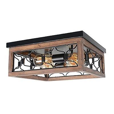 Beuhouz Square Rustic Semi Flush Mount Cage Light Fixture, Black Metal and Wood Farmhouse Ceiling Lighting Industrial Close to Ceiling Light 4 Light Edison E26 8042