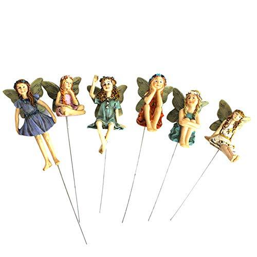 Feen Figuren Zubehör Miniatur Elfen Figur Elfen Deko Feengarten Dekoration Flower Fairies Statue Harz-fee Garten-Verzierungen für Gartendeko 6 Stück
