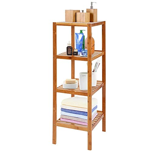 BAKAJI - Mueble estantería de Columna de baño, Cocina, 4 estantes de Madera de bambú, 36 x 33 x 140 cm, estantes para el hogar, Ahorro de Espacio