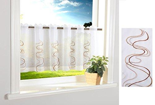 Welle Scheibengardine Durchzuglöcher für Gardinenstangen Scheibe Gardine Küche Braun HxB 40x120 cm, 112241
