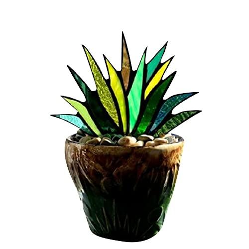 surfsexy Adornos de agave de cristal manchado, atrapasueños de flores de agave manchado, decoración para el hogar, artesanía hecha a mano, para jardín, patio, escritorio de mesa interior