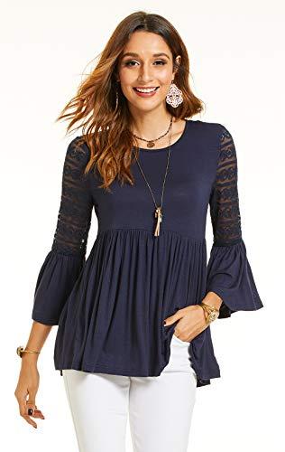 SONJA BETRO Women's Knit Lace 3/4 Bell Ruffle Sleeve Empire Waist Babydoll Keyhole Back Tunic Top/104NAVY/X-Large