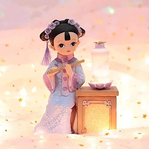 lámpara de pared, Titular Descepctop Offic Decor Puppet adornos pequeños Regalos con características chinas Traje Muñecas Estatua Tocar Pipa / Piper debajo de la lámpara Estantería Decoración de escri