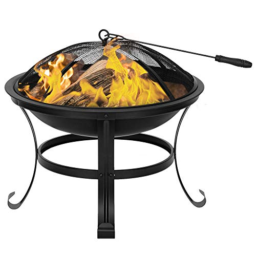 Bonnlo Fire Pit Outdoor Metal Portable FirePit Bowl Patio Heater with Spark Screens and Poker for Garden/Patio/Backyard 55x55x40 cm