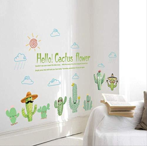 Sticker Mural Funny Cool Cactus Soleil Nuages Cactus Fleur Autocollants Enfants Room Decor Fenêtre Salle De Bains Cuisine Pegatina