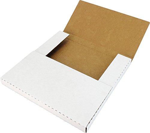 """(10) White Vinyl Record LP Shipping Mailer Boxes - Holds 1 to 3 12"""" Records - Adjustable Height - Strong 200# Test Cardboard #12BC01VDWH"""