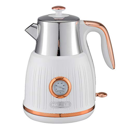 Hafele Queen - Electric Stainless Steel Kettle, Tea and Coffee Maker with Removable Lime Scale Filters for Easy Cleaning, Quick, Efficient Boiling with Analogue Temperature Display, 1.6 Litre, White