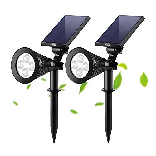 Wilktop LED Solar Strahler Solarleuchte Landscape (2x;Warmweiß) 3th Version Superhelle Spotlight Solarbetriebene; Wasserdicht für die Hinterhöfe, Gärten, Rasen usw