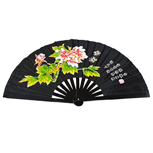 Abanico plegable de bambú, para práctica de artes marciales, estilo chino, Peony...