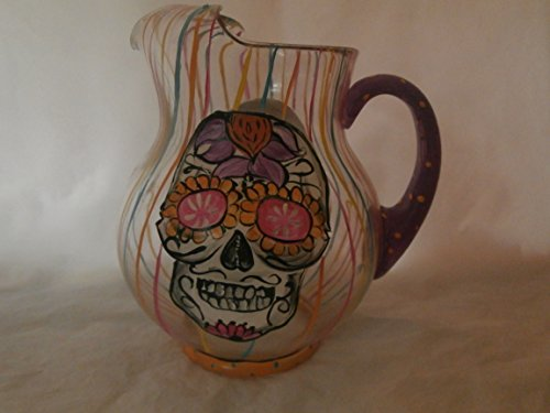 Hand painted sugar skull round 'kool aid' style pitcher. Made in the usa.