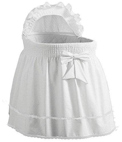BabyDoll Bedding Precious Bassinet Liner/Skirt & Hood, White, 17