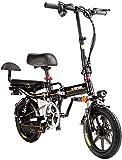 Alta velocidad Bicicletas rápidas y Eléctrica en adultos de peso ligero plegable compacto EBike for ir al trabajo y ocio - 14 pulgadas ruedas, Suspensión trasera, pedaleo asistido unisex de bicicletas