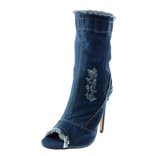Angkorly - Damen Schuhe Stiefeletten - Stiletto - Jeans Denim - Peep-Toe - ausgefranst - zerrissene...