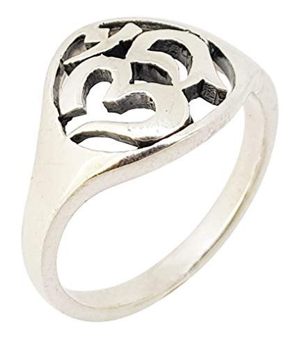 TreasureBay Men's Women's 925 Sterling Silver Ohm Om Ring For Men, Women and Yogis (T)