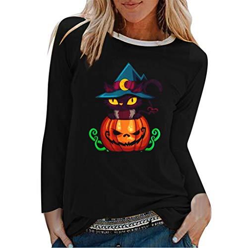 CHMORA - Camiseta de manga larga con estampado de Halloween para mujer, de manga larga, informal, para todas las estaciones