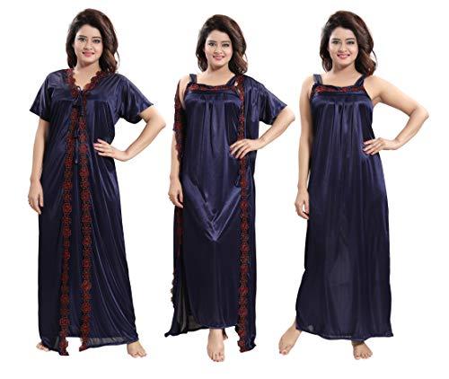 TUCUTE® Women's Satin Nighty with Robe 2 Pcs Night wear...