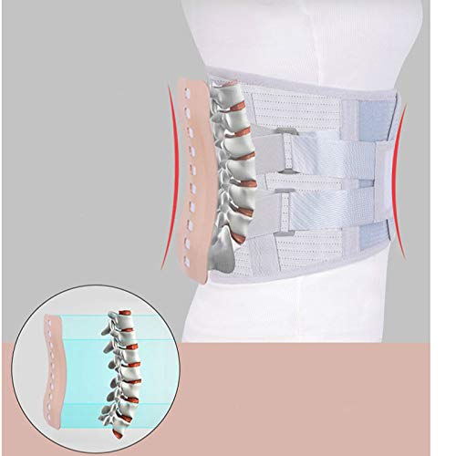 Joseph Turmalin selbsterwärmende magnetische Stahlplatten Taillenunterstützung Gürtel Herren Damen Lendenwirbelstütze Rückenbandage Gürtel M grau