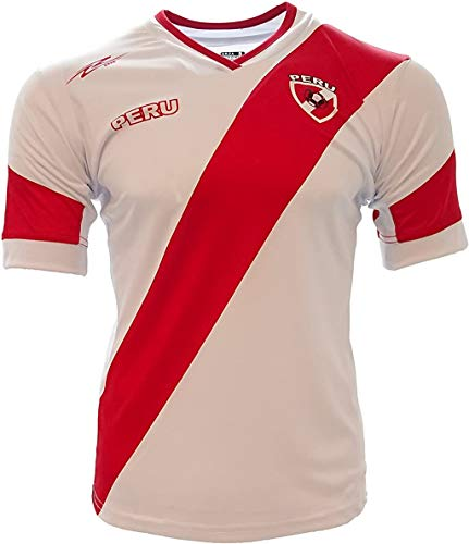 Arza Soccer Peru Jersey White/Red Slim Fit 100% Polyester (Small)