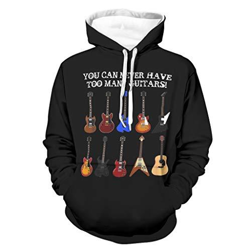 Vintage zu viele Gitarren Musik Zitat Druck Herren Pullover mit Kapuze Vintage Lange Ärmel Kapuzenpullover mit Taschen Aktiv-Trainingsoberteile White XL