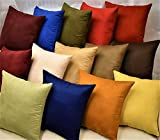 MoonRest Pack of 2- Suede Square Decorative Throw Pillow Covers Sofa sham Solid Colors Couch Cushion Pillowcases (16 x 16 Burgundy)