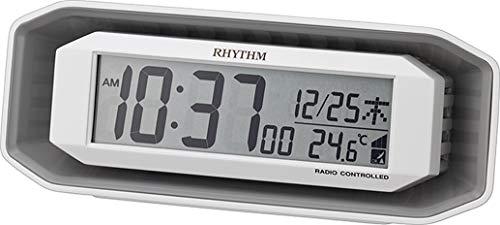 リズム(RHYTHM) 置き時計 ホワイト 7.2x18.3x6.4cm 電波時計 目覚まし時計 大音量 電子音 アラーム デジタル 8RZ220SR03