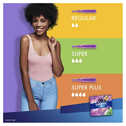 Tampax Radiant Plastic Tampons, Super Absorbency, Unscented, 28 Count (Packaging May Vary)