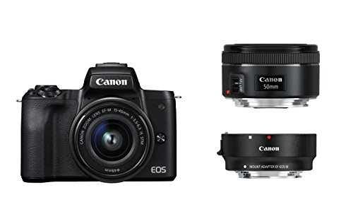 Canon EOS M50 Systemkamera spiegellos - mit Objektiven EF-M 15-45mm IS STM + EF 50 1.8 STM + EF Adapter (24,1 MP, 7,5 cm Touchscreen LCD, Display, Digic 8, 4K, OLED EVF, WLAN, Bluetooth), schwarz