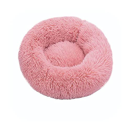 Cama de perro súper suave de invierno felpa, felpa, felpa, felpa, camas para perros grandes, cama de labradores, casa, cojín redondo, accesorios para productos para mascotas, rosa, 100 cm