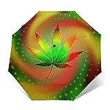 自動三つ折り傘日焼け止め防風UV大麻マリファナの葉カラフルな雨傘男性女性のための壊れにくいコンパクトな折りたたみ傘